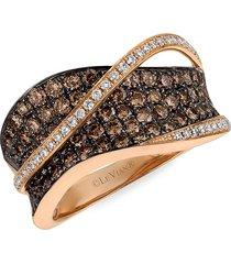 le vian women's 14k strawberry gold®,chocolate diamonds® & vanilla diamonds® ring/size 7 - size 7