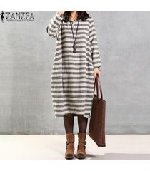 zanzea mujer de manga larga a rayas holgada de algodón flojo retro kaftan maxi largo del vestido -gris