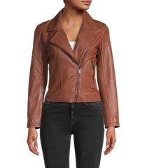 lth jkt women's leather moto jacket - black - size s