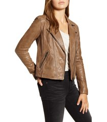 women's lucky brand worn leather moto jacket, size x-small - brown