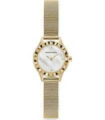 classic mother-of-pearl goldtone stainless steel mesh bracelet watch