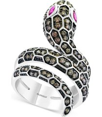 effy espresso diamond (3/4 ct. t.w.) & ruby (1/5 ct. t.w.) snake statement ring in 14k white gold