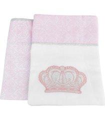 kit 2 mantas cueiros princesa rosa reininho classic - kanui