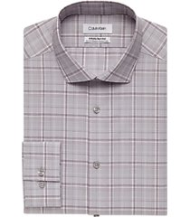 calvin klein claret windowpane plaid slim fit stretch dress shirt