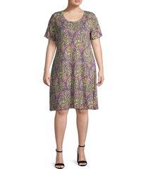 premise women's plus paisley shift dress - paisley print - size 1x (14-16)