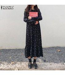 zanzea mujeres de manga larga camisa de vestir de lunares vacaciones de verano vestido a media pierna alas de murciélago -negro