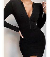 cremallera delantera tejido cuello redondo mangas largas mini vestido