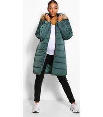 zwangerschaps gewatteerde jas met faux fur zoom, nachtelijk groen
