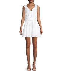 rd style women's smocked-waist cotton mini dress - white - size xs