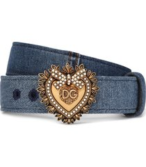 dolce & gabbana devotion denim belt - blue