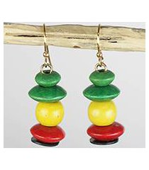 wood and recycled plastic beaded dangle earrings, 'boho life' (ghana)
