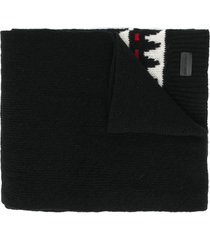 saint laurent boho print winter scarf - black