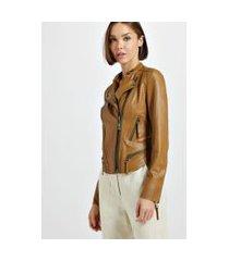 jaqueta de couro motor textura mel - 36