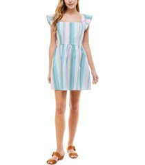 crystal doll juniors' striped smocked-back fit & flare dress