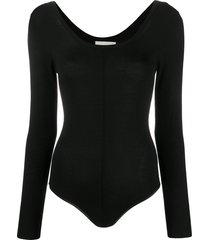 forte forte long-sleeve fitted bodysuit - black
