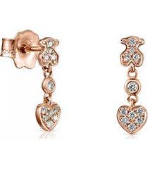 aretes cortos les classiques de oro rosa con diamantes