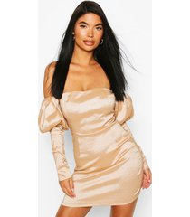 petite extreme puff sleeve mini dress, champagne