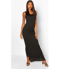 lange basic ribgebreide maxi-jurk met diepe hals, zwart