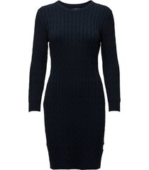 stretch cotton cable dress korte jurk blauw gant
