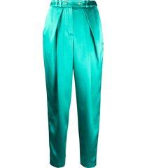 balmain satin cigarette trousers - green