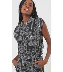 macacã£o linho dress to jogger ararei preto/branco - preto - feminino - linho - dafiti
