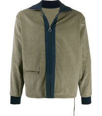 anglozine moseley corduroy zip jacket - green