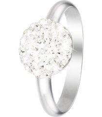 anello in argento 925 rodiato e cristalli per donna
