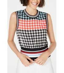 juicy couture sleeveless houndstooth-print top