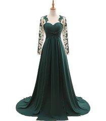 women's chiffon dark green prom dress gown long sleeves,formal evening dresses