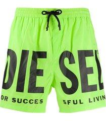 diesel logo print swim shorts - green