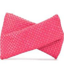 bottega veneta woven-effect clutch bag - pink