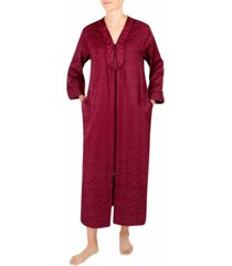 miss elaine brushed-back long satin zipper robe