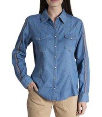 blusa mujer amapola algodón orgánico azul rockford