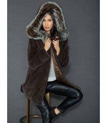 the fur vault fox-fur-trim reversible mink coat