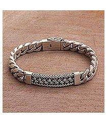 men's sterling silver wristband bracelet, 'braided belt' (indonesia)