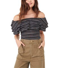 women's free people heirloom ruffle top, size small - black