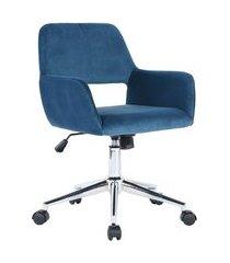 cadeira de escritório secretária giratória ross azul aveludado