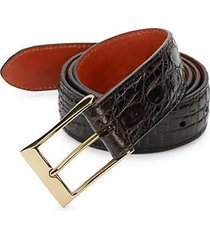 boxed crocodile leather belt