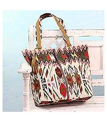 cotton and leather accent tote handbag, 'geometric symphony' (india)