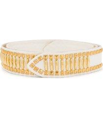alberta ferretti stud-embellished belt - white