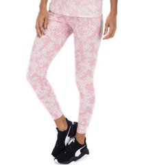 calça legging puma elevated ess aop - feminina - rosa claro