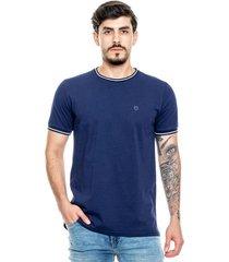 camiseta logo unicolor con cuello y puños tejidos color blue