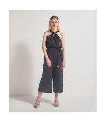 macacão liso com alças cruzadas e amarração na cintura | a-collection | preto | g