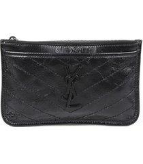 yves saint laurent niki bill pouch black matelasse leather ysl bag black/logo sz: n