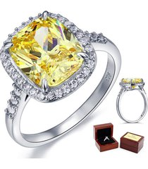 fine 925 sterling silver wedding anniversary ring 6 ct yellow canary lab diamond