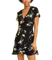 speechless juniors' floral-print faux-wrap dress
