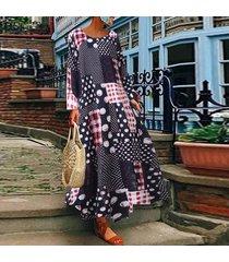zanzea plus s-5xl vestido de camisa de lunares de manga larga para mujer vestido midi étnico vintage -azul marino