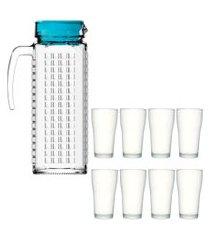 kit 1 jarra de vidro ladrilhos azul 1,2 litros e 8 copos de vidro sture móveis