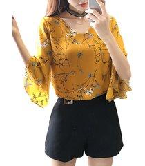 camicette con maniche a campana con scollo a v stampate in chiffon floreale