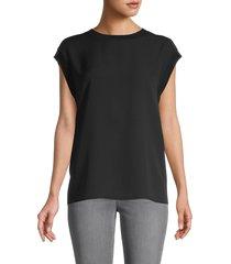 vince women's rib trim silk shell top - black - size xs